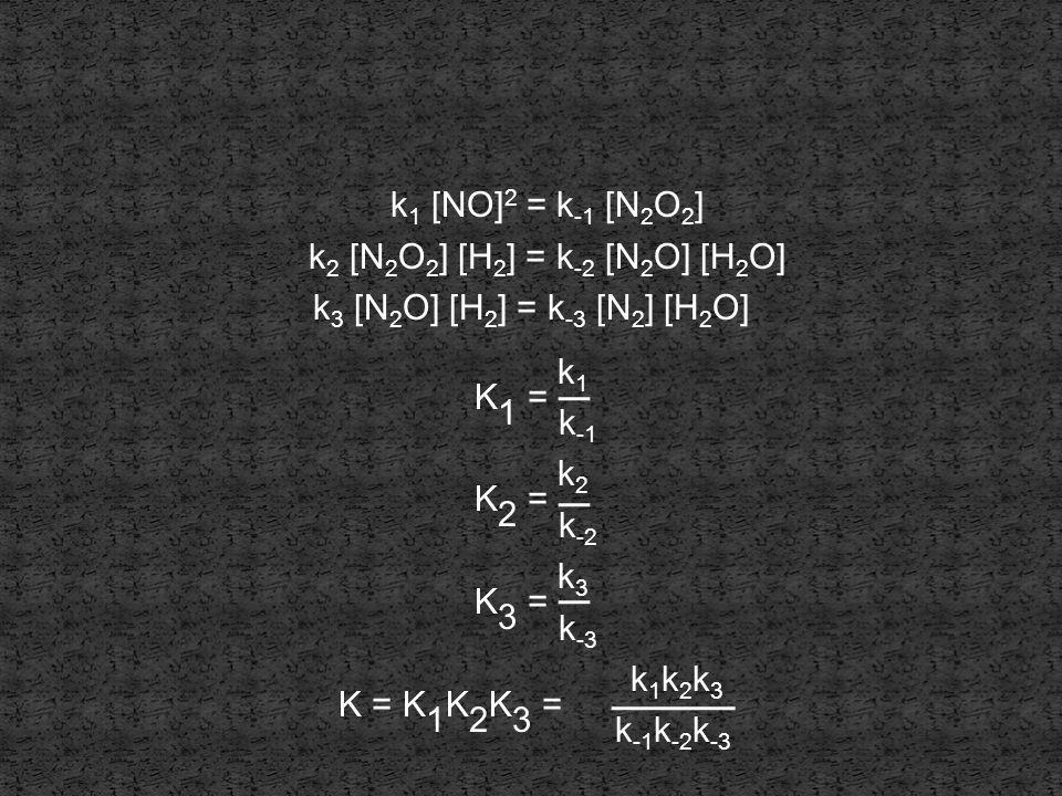 K1 = k1 K2 = k2 K3 = k3 K = K1K2K3 = k1k2k3 k1 [NO]2 = k-1 [N2O2]